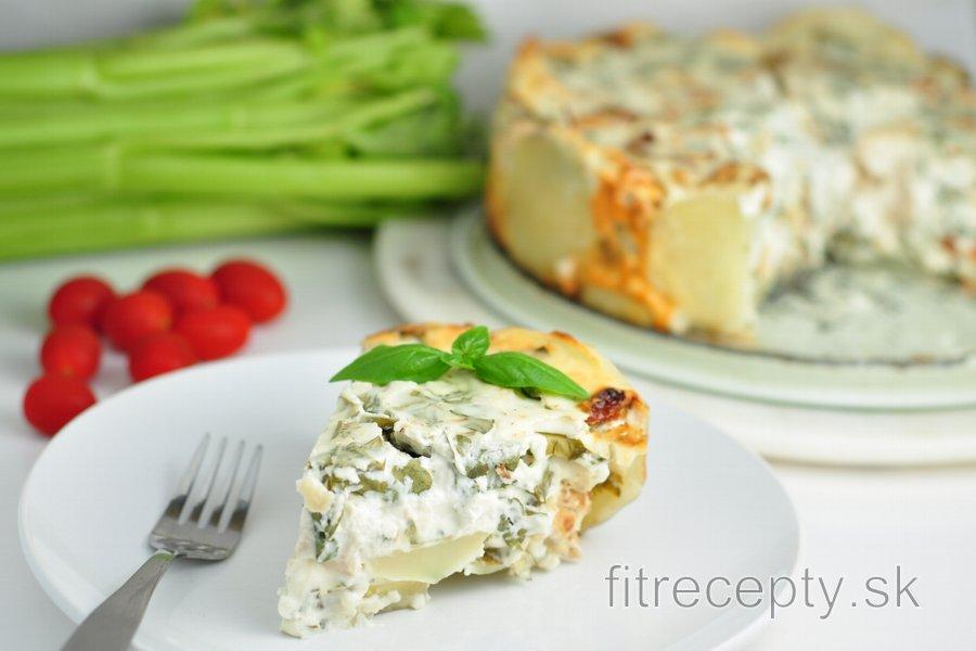 Zemiakovo syrový koláč s kuracím mäsom a špenátom