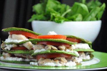 Špenátové lievance s kuracím mäsom